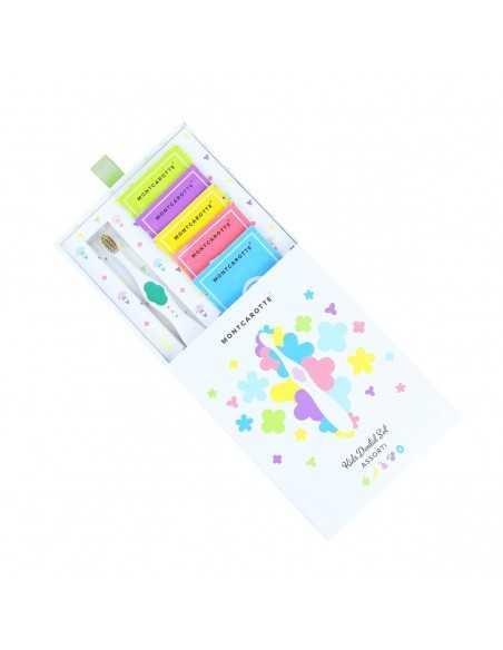 """Дитячий подарунковий набір для чищення зубів """"Зелений"""" MontCarotte, 5 паст + 1 щітка"""