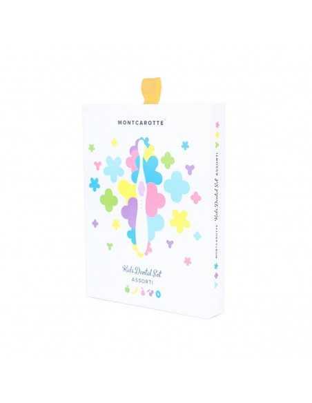 """Дитячий подарунковий набір для чищення зубів """"Жовтий"""" MontCarotte, 5 паст + 1 щітка"""