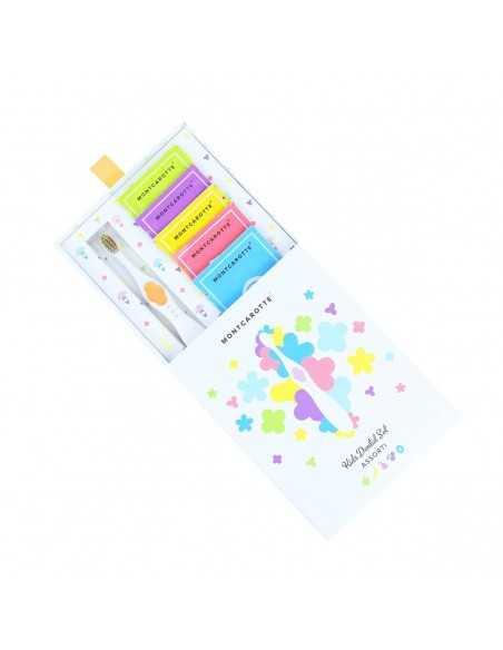 """ПДетский подарочный набор для чистки зубов, MontCarotte, """"Ассорти"""", Желтый, 1 паста + 5 щеток"""