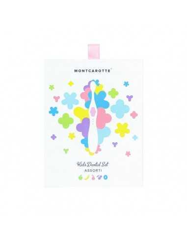 """Дитячий подарунковий набір для чищення зубів """"Рожевий"""" MontCarotte, 5 паст + 1 щітка"""