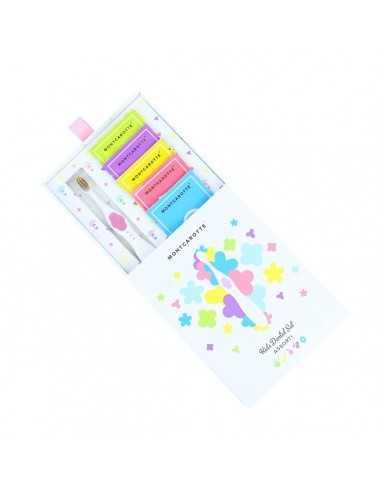"""Детский подарочный набор для чистки зубов """"Розовый"""" MontCarotte, 5 паст + 1 щетка"""