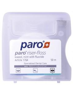 Зубна нитка Paro Swiss riser-floss вощенна з м'ятою і фторидом, 50 м
