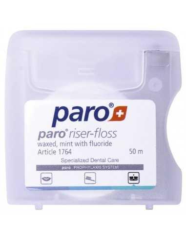 Зубная нить Paro Swiss riser-floss вощеная с мятой и фторидом, 50 м