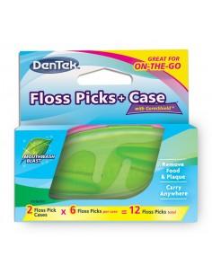 Флосс-зубочистки DenTek + Дорожный футляр: 2 футляра, 12 зубочисток