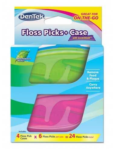 Флос-зубочистки DenTek + Дорожній футляр: 4 футляра, 24 зубочистки