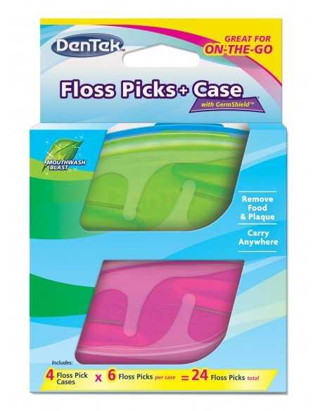 Флосс-зубочистки DenTek + Дорожный футляр: 4 футляра, 24 зубочистки
