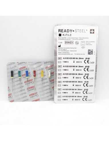 Ендодонтичні інструменти (файли) K-File Ready Steel № 10, довжина 25 мм, 6 шт., Dentsply Sirona