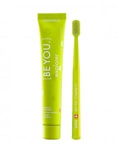 Зубной набор EXPLORER, отбеливающая зубная паста, 90 мл + ультра-мягкая зубная щетка, CURAPROX