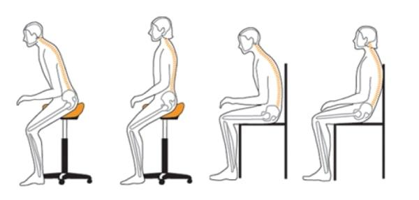 Расположение сидя на стуле седло